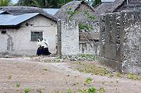 Jambiani, Zanzibar, Tanzania.  Muslim Girls Going to School.