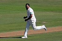 Samit Patel of Notts celebrates taking the wicket of Daniel Lawrence during Essex CCC vs Nottinghamshire CCC, Specsavers County Championship Division 1 Cricket at The Cloudfm County Ground on 22nd June 2018