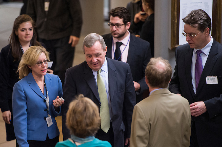 UNITED STATES - MAY 14: Sen. Richard Durbin, D-Ill., speaks to reporters as he arrives in the Capitol for the weekly policy luncheons on Tuesday, May 14, 2013 . (Photo By Bill Clark/CQ Roll Call)