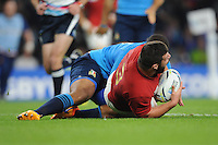 Rabah Slimani of France scores a try a try from Frédéric Michalak of France's chip during Match 5 of the Rugby World Cup 2015 between France and Italy - 19/09/2015 - Twickenham Stadium, London <br /> Mandatory Credit: Rob Munro/Stewart Communications