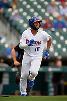 Buffalo Bisons Richard Urena (16) runs to first base during an International League game against the Norfolk Tides on June 21, 2019 at Sahlen Field in Buffalo, New York.  Buffalo defeated Norfolk 2-1, the first game of a doubleheader.  (Mike Janes/Four Seam Images)