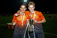Pictured: Simon Paulet and Kees De Boer of Swansea City u19's celebrate during the FAW youth cup final between Swansea City and The New Saints at Park Avenue in Aberystwyth Town, Wales, UK.<br /> Wednesday 17 April 2019
