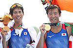 Masahiro Takeda &  Masayuki Miyaura (JPN), <br /> AUGUST 24, 2018 - Rowing : <br /> Men's Lightweight Double Sculls  Medal ceremony <br /> at Jakabaring Sport Center Lake <br /> during the 2018 Jakarta Palembang Asian Games <br /> in Palembang, Indonesia. <br /> (Photo by Yohei Osada/AFLO SPORT)