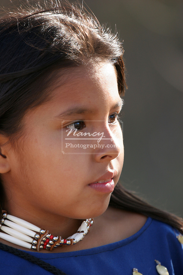 A young Native American Indian portrait profile of a child
