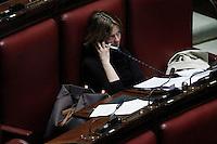 Beatrice Lorenzin mentre parla al telefono..Roma 25/01/2012 Voto alla Camera dei Deputati per la mozione unitaria sulla politica europea dell'Italia..Foto Insidefoto Serena Cremaschi