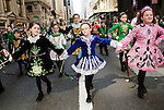 Irish step dancers marching up Fifth Avenue in Manhattan in the annual St. Patrick's Day Parade in New York City on March 17, 2011.