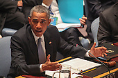 United States President Barack Obama makes remarks at the United Nations Security Council summit cracking down on foreign terrorist fighters at the U.N. 69th General Assembly in New York, New York on Wednesday, September 24, 2014.  <br /> Credit: Allan Tannenbaum / Pool via CNP