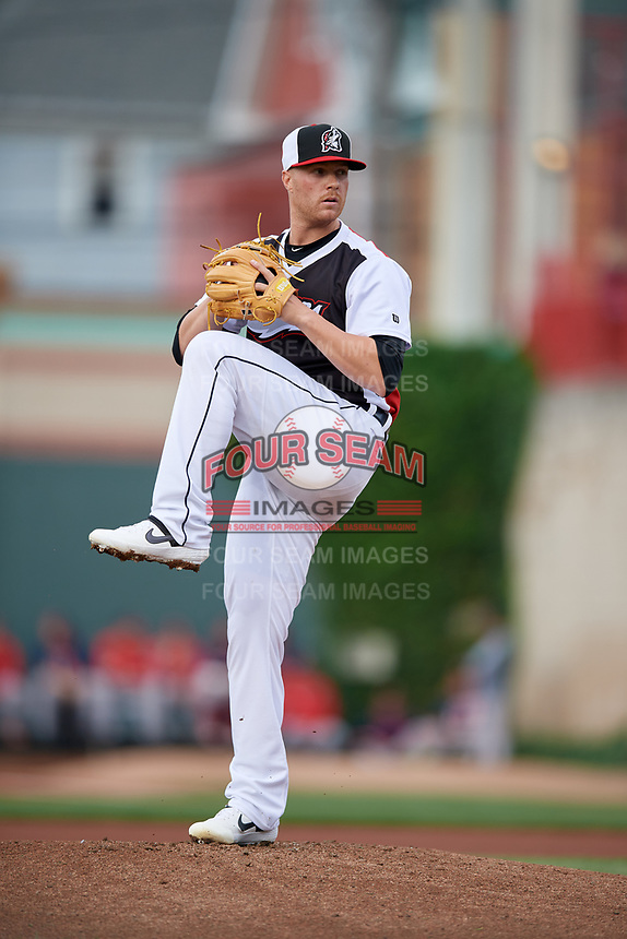 Erie SeaWolves pitcher Logan Shore (38) during an Eastern League game against the Portland Sea Dogs on June 17, 2019 at UPMC Park in Erie, Pennsylvania.  Portland defeated Erie 6-3.  (Mike Janes/Four Seam Images)