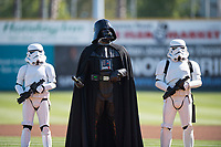 Star Wars characters Darth Vader and his Stormtroopers stand on the field before a California League game between the Lancaster JetHawks and San Jose Giants at San Jose Municipal Stadium on May 12, 2018 in San Jose, California. Lancaster defeated San Jose 7-6. (Zachary Lucy/Four Seam Images)