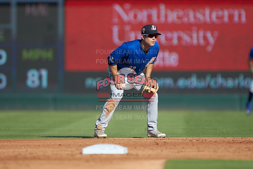 Durham Bulls second baseman Brandon Lowe (11) on defense against the Charlotte Knights at BB&T BallPark on July 4, 2018 in Charlotte, North Carolina. The Knights defeated the Bulls 4-2.  (Brian Westerholt/Four Seam Images)