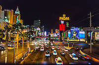 Las Vegas, Nevada.  Las Vegas Boulevard, The Strip, at Night.
