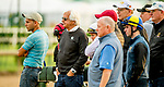 LOUISVILLE, KENTUCKY - MAY 01: Trainer Bob Baffert, WinStar CEO Elliot Walden, jockey Florent Geroux and a host of others watch as horses prepare for the Kentucky Derby at Churchill Downs in Louisville, Kentucky on May 1, 2019. Scott Serio/Eclipse Sportswire/CSM