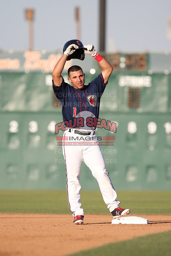 Ramon Laureano (1) of the Lancaster JetHawks stands at second base during a game against the Visalia Rawhide at The Hanger on July 6, 2016 in Lancaster, California. Lancaster defeated Visalia, 10-7. (Larry Goren/Four Seam Images)
