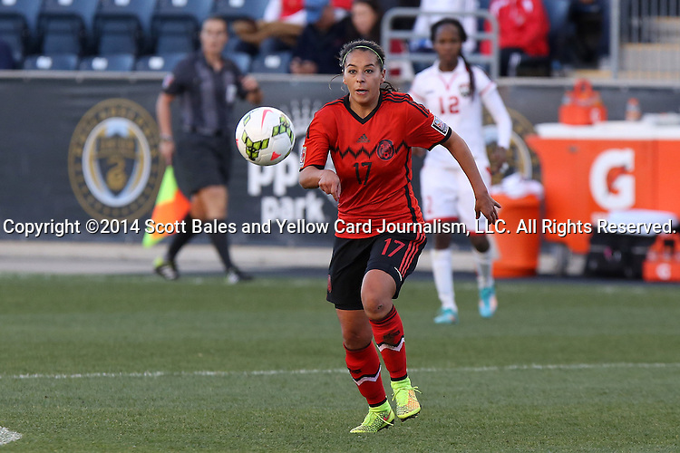 26 October 2014: Veronica Perez (MEX). The Trinidad & Tobago Women's National Team played the Mexico Women's National Team at PPL Park in Chester, Pennsylvania in the 2014 CONCACAF Women's Championship Third Place game. Mexico won the game 4-2 after extra time. With the win, Mexico qualified for next year's Women's World Cup in Canada and Trinidad & Tobago face playoff for spot against Ecuador.