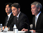 """May 1, 2011, Tokyo, Japan - Kazuo Hirai, Sony Entertainment President, explains a breach of security during a news conference at its headquarter in Tokyo on Sunday, May 1, 2011. Hirai, along with two other executives, apologized for the breach in the company PlayStation Network that caused the loss of personal data of some 77 million accounts on the online service. Sony has said it has contacted U.S. Federal Bureau of Investigation to look into what the company called """"a criminal cyber attack"""" on Sony's data center in San Diego, California. Otehr executives are, Sony Corp.'s Senior Vice Presidents Shiro Kambe, left, and Shinji Hasejima. (Photo by Natsuki Sakai/AFLO) [3615] -mis-"""