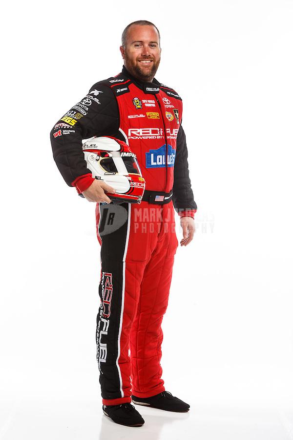 Feb 10, 2016; Pomona, CA, USA; NHRA top fuel driver Shawn Langdon poses for a portrait during media day at Auto Club Raceway at Pomona. Mandatory Credit: Mark J. Rebilas-USA TODAY Sports