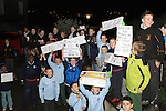 Children protest outside council meeting about lack of changing rooms at Moneymore FC...(Photo credit should read Jenny Matthews www.newsfile.ie)....This Picture has been sent you under the conditions enclosed by:.Newsfile Ltd..The Studio,.Millmount Abbey,.Drogheda,.Co Meath..Ireland..Tel: +353(0)41-9871240.Fax: +353(0)41-9871260.GSM: +353(0)86-2500958.email: pictures@newsfile.ie.www.newsfile.ie.
