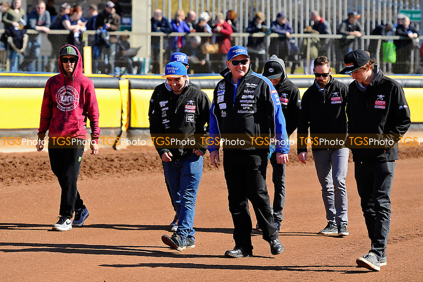 Poole Pirates Manger Neil Middleditch(c) walks the track with his team during Poole Pirates vs Swindon Robins, Elite League Speedway at The Stadium on 25th March 2016