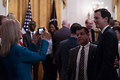White House counselor Kellyanne Conway takes a photo of White House senior advisor Jared Kushner and a guest during an event about taxes at the East Room of the White House June 29, 2018 in Washington, DC.<br /> <br /> Credit: Toya Sarno Jordan / CNP