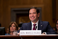 United States Senator Marco Rubio (Republican of Florida),  prior to introducing Kirstjen Nielsen during Nielsen's confirmation hearing to be US Secretary of Homeland Security before the US Senate Homeland Security and Government Affairs Committee on Capitol Hill in Washington, D.C. on November 8th, 2017. <br /> Credit: Alex Edelman / CNP /MediaPunch