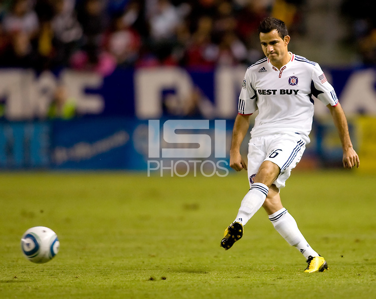 Chicago Fire midfielder Marco Pappa passes off the ball. The Chicago Fire defeated CD Chivas USA 3-1 at Home Depot Center stadium in Carson, California on Saturday October 23, 2010.