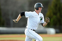 First baseman Charlie Carpenter (36) of the University of South Carolina Upstate Spartans runs to first in a game against the College of Charleston Cougars on Tuesday, March 31, 2015, at Cleveland S. Harley Park in Spartanburg, South Carolina. Charleston won, 10-0. (Tom Priddy/Four Seam Images)