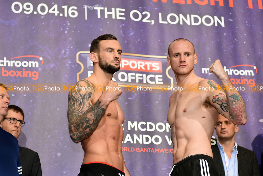 George Groves (R) and David Brophy during the Anthony Joshua vs Charles Martin Weigh-In at the O2 Arena on 8th April 2016