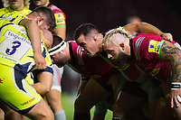 The Harlequins front row of Will Collier, Dave Ward and Joe Marler prepare to scrummage. Aviva Premiership match, between Harlequins and Sale Sharks on October 6, 2017 at the Twickenham Stoop in London, England. Photo by: Patrick Khachfe / JMP