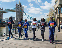 LONDON, ENGLAND 19 APRIL, L-R Tirunesh Dibaba _ Tigist Tufa _ Mare Dibaba  _ Florence Kiplagat _ Mary Keitany _Vivian Cheruiyot attend Virgin Money London Marathon Elite Women's photocall at Westminster, London UK 19th April 2017<br /> CAP/PP/GM<br /> &copy;GM/PP/Capital Pictures