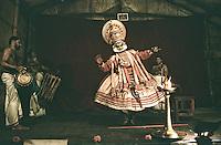 A Kathakali performance at Fort Kochi, Ernakulam, Kerala, India
