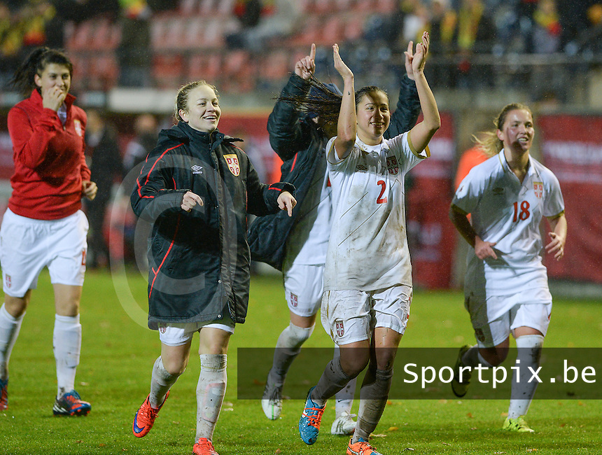 20151130 - LEUVEN ,  BELGIUM : Serbian Players pictured happy and celebrating their 1-1 draw with Jasna Djordjevic (2) during the female soccer game between the Belgian Red Flames and Serbia , the third game in the qualification for the European Championship in The Netherlands 2017  , Monday 30 November 2015 at Stadion Den Dreef  in Leuven , Belgium. PHOTO DAVID CATRY
