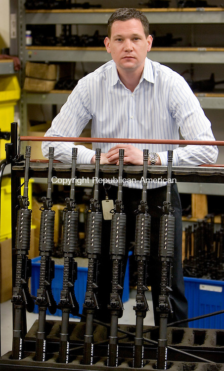 NEW BRITAIN, CT. 20 February 2013-022013SV02-Mark Malkowski, president of Stag Arms stands in his shop in New Britain Wednesday. Stag Arms is the leading maker of AR-15 rifles. .Steven Valenti Republican-American