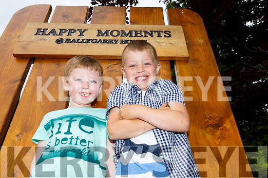 Aiden Murphy and Tomas Ryan enjoying the happy moments at the Dairymaster 50th anniversary BBQ in the Ballygarry House Hotel on Sunday.