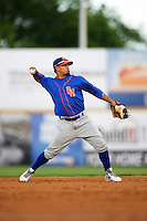 Midland RockHounds shortstop Franklin Barreto (10) throws to first during a game against the San Antonio Missions on April 21, 2016 at Nelson W. Wolff Municipal Stadium in San Antonio, Texas.  Midland defeated San Antonio 9-2.  (Mike Janes/Four Seam Images)
