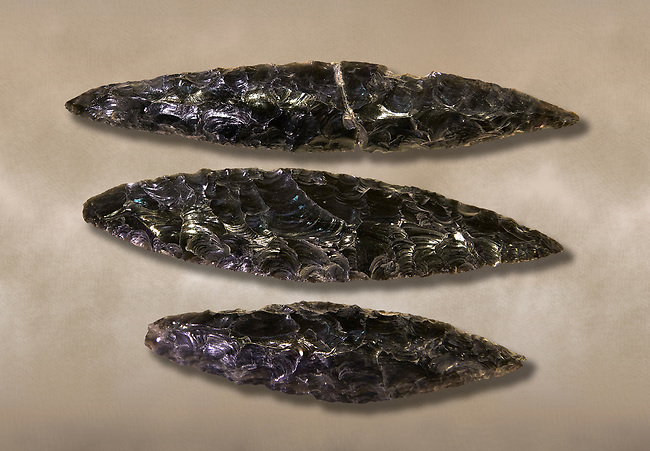 Black obsidian blades. Catalhoyuk Collections. Museum of Anatolian Civilisations, Ankara