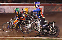 Lakeside guest Lewis Bridger (blue) gets out of shape  - Lakeside Hammers vs Wolverhampton Wolves at The Arena Essex Raceway, Lakeside - 22/08/08 - MANDATORY CREDIT: Rob Newell/TGSPHOTO