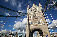 Great Britain, London: Tower Bridge and The City in background