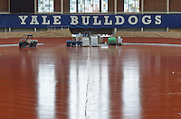 Renovations and Restoration of Coxe Cage, Yale University Athlectics Facility. Project Started May 2013. Construction Progress Photography Submission Eleven, 16 October 2013. Project included Skylight replacement, roofing, doors, ventalation systems and track restoration. View: Track Restoration.