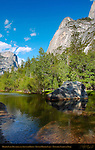 Mirror Lake Boulder, Mount Watkins and Ahwiyah Point in Spring, Lower Mirror Lake, Yosemite National Park