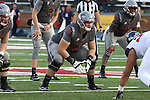 Noah Osur-Myers, Washington State offensive lineman, awaits the snap during the Cougars Pac-12 Conference demolition of the Arizona Wildcats, 69-7, on November 5, 2016, at Martin Stadium in Pullman, Washington.