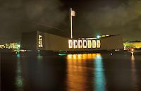 USS Arizona Memorial at Night in Hawaii