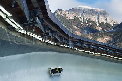 12.12.2015. Koenigssee, Germany. A two-man bobsleigh in action during the men's two-man race at the Bobsleigh World Cup in Koenigssee, Germany, 12 December 2015.