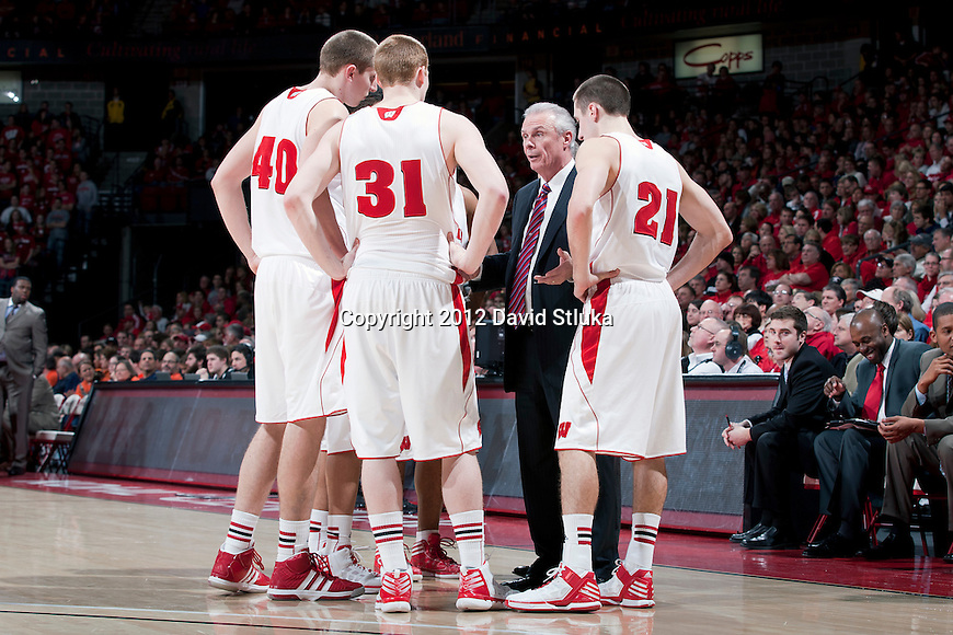 Wisconsin Badgers Head Coach Bo Ryan talks to his team during a Big Ten Conference NCAA college basketball game against the Illinois Fighting Illini on Sunday, March 4, 2012 in Madison, Wisconsin. The Badgers won 70-56. (Photo by David Stluka)