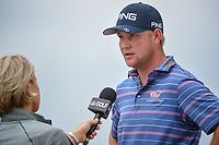 Trey Mullinax (USA) is interviewed after shooting a course record 62 during Round 3 of the Valero Texas Open, AT&amp;T Oaks Course, TPC San Antonio, San Antonio, Texas, USA. 4/21/2018.<br /> Picture: Golffile | Ken Murray<br /> <br /> <br /> All photo usage must carry mandatory copyright credit (&copy; Golffile | Ken Murray)