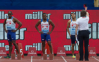 Adam GEMILI of GBR is shown a Red Card as fellow Brits James DASAOLU (left) & Chijindu UJAH look on during the Muller Grand Prix Birmingham Athletics at Alexandra Stadium, Birmingham, England on 20 August 2017. Photo by Andy Rowland.