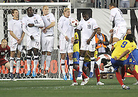 Jonathan Spector #2,Jozy Altidore #17,Michael Bradley #4,Brek Shea #23,Maurice Edu #19 and Jermaine Jones #15 of the USA MNT set up a defensive wall against a free kick from Falcao Garcia #9 of Colombia during an international friendly match at PPL Park, on October 12 2010 in Chester, PA. The game ended in a 0-0 tie.