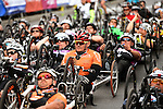 Mannheim, Germany, May 09: Before the start of the GBG Handbike- und Rollstuhl Halbmarathon at the SAP Arena Marathon on May 9, 2015 in Mannheim, Germany. (Photo by Dirk Markgraf / www.265-images.com) *** Local caption ***