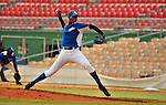 "Major League Baseball prospect Remy de Aza throws out  the ball during the final game of the ""Torneo Supremo"" at the Quiskeya National Stadium in Santo Domingo. The Tournament which aims to maximize the ability of Major League Baseball organizations to scout in the Dominican Republic. According to the MLB's office in the Dominican Republic, this year, the tournament introduced 23 new baseball prospects. July 29 2011. ViewPress/ Kena Betancur"