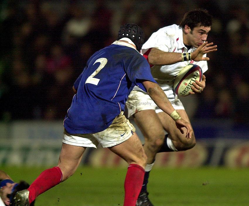 Photo. Richard Lane.England A v France A at Franklin Gardens, Northampton. 14/02/2003.Alex Sanderson attacks.