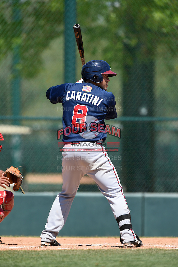 Atlanta Braves catcher Victor Caratini (8) during a minor league spring training game against the Washington Nationals on March 26, 2014 at Wide World of Sports in Orlando, Florida.  (Mike Janes/Four Seam Images)
